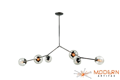 Branching Stainless Steel Chandelier with Glass Globes