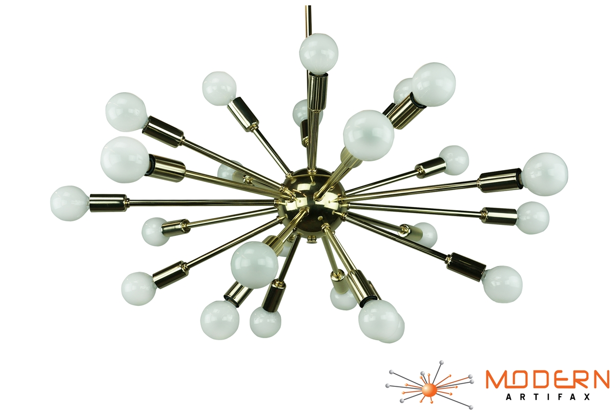 Satellite Brass Sputnik Chandelier Foyer 18 Light Small