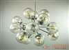 Polished Chrome Sputnik Chandelier with vintage crackle bubble glass