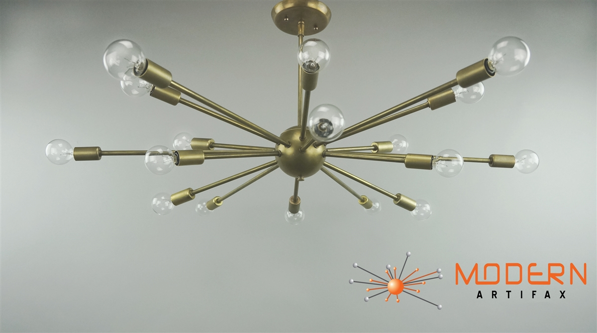Vintage brass lamp 34 in diameter with 18 arms lamp has a flat shape alternative views mozeypictures Image collections