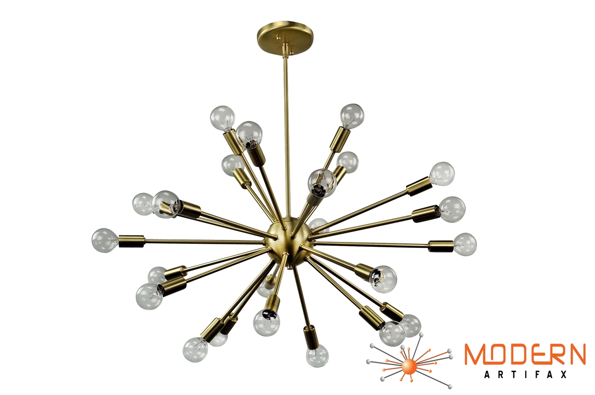 Sputnik chandelier satin brass 30 in diameter with 24 arms alternative views aloadofball