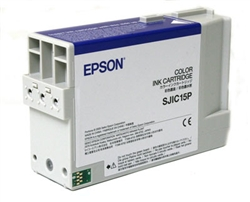 The Epson SJIC15P replacement ink cartridge is used in the Epson SecurColor Inkjet Color Label Printer.