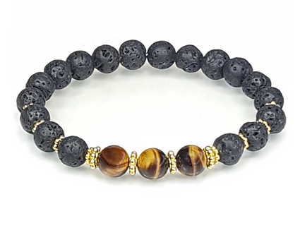 Tigers Eye Lava Stone and Gold Beaded Bracelet