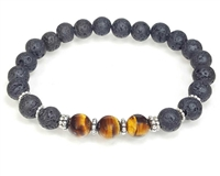 Tigers Eye Lava Stone and Sterling Silver Beaded Bracelet