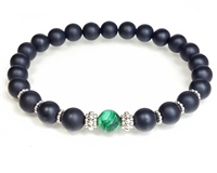 Malachite, Matte Black Onyx and Sterling Silver Beaded Bracelet
