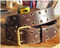 Brown Leather Rivet & Grommet Belt