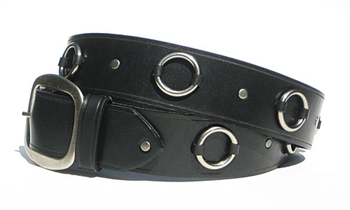 "1.5"" Black  Leather Ring Belt"