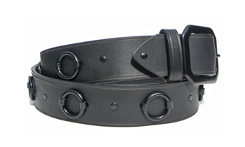 "1.5"" Black on Black Leather Ring Belt"