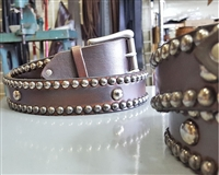 Antique Brown Spot Stud Belt