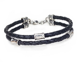 BLACK Leather 2 Strand Bracelet with 4mm Silver Beads