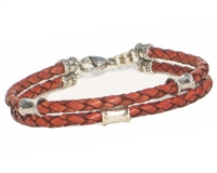 RUST Leather 2 Strand Bracelet with 4mm Silver Beads