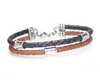 Saddle and Brown 2 Strand Leather Bracelet with Silver Beads