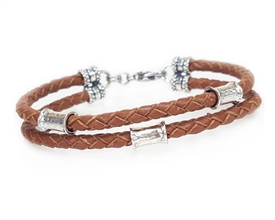 SADDLE Leather 2 Strand Bracelet with 4mm Silver Beads