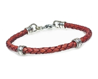 RUST Leather Cord Bracelet with 5mm Silver Beads