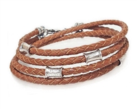SADDLE Leather Double Double Bracelet with 4 mm Silver Beads