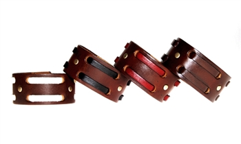 "1 1/4"" Double Weave Brown Leather Cuff"