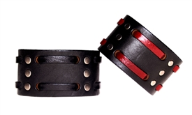 "1 3/4"" Double Weave Black Leather Cuff"