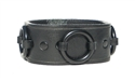 "1 1/4"" Black Leather Ring Cuff_ black hardware"