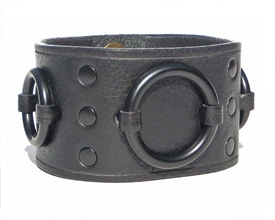 "1 3/4"" Black Leather Ring Cuff leather_ Black hardware"