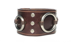 "1 3/4"" Brown Leather Ring Cuff"