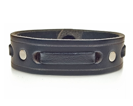 "3/4"" Single Weave Men's Leather Cuff / BLACK"