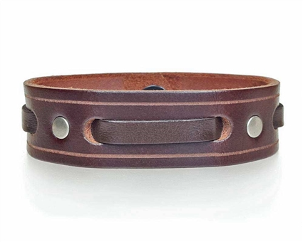 "3/4"" Single Weave Brown Leather Cuff Bracelet"