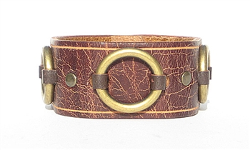 "1 1/4"" Vintage Brown Leather Ring Cuff"