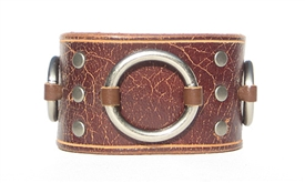 "1 3/4"" Vintage Brown Leather Ring Cuff"