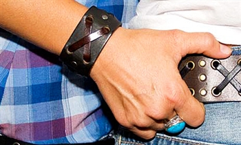 "1 1/4"" Black Leather ""X"" Weave Cuff"