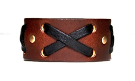 "1 1/4"" Brown Leather ""X"" Weave Cuff"