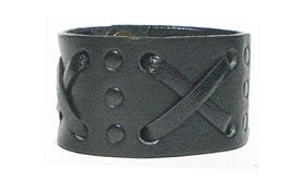 "1 3/4"" ""X"" Weave Cuff /Black hardware on Black leather"