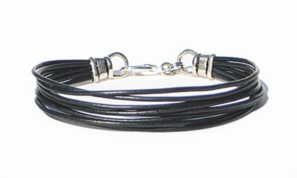 8 Strand Black Leather Cord Womens Bracelet