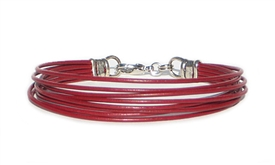 8 Strand Red Leather Cord Bracelet