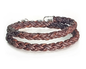 Braided Leather Rope Bracelet - Double Wrap - Brown