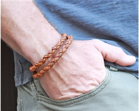 Braided Leather Rope Bracelet - Double Wrap-Tan