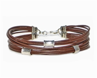 Multi Strand BROWN Leather Cord Bracelet with Silver Beads