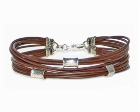 12 Strand BROWN Leather Cord Bracelet with Silver Beads