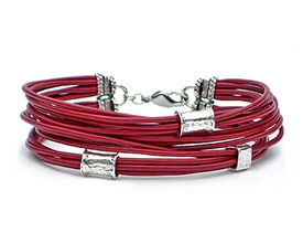 12 Strand RED Leather Cord Bracelet with Silver Beads