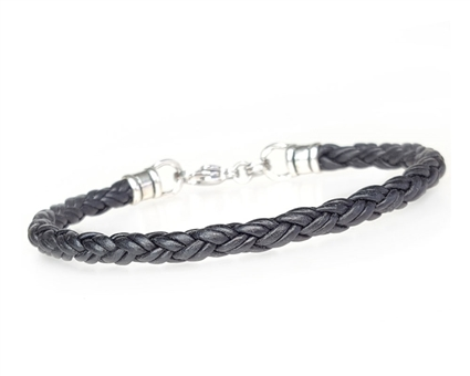 Skinny Braided BLACK Leather Bracelet
