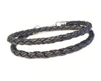 Skinny BLACK DOUBLE Wrap Braided Leather Bracelet