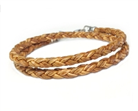 Skinny NATURAL TAN DOUBLE Wrap Braided Leather Bracelet