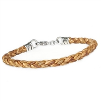 Skinny NATURAL TAN Braided Leather Bracelet