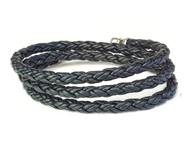 Skinny BLACK TRIPLE Wrap Braided Leather Bracelet