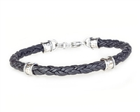 Braided BLACK Leather Bracelet with Sterling Silver Beads