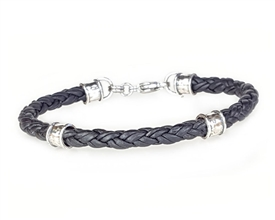 Braided BLACK Leather with Sterling Silver Beads