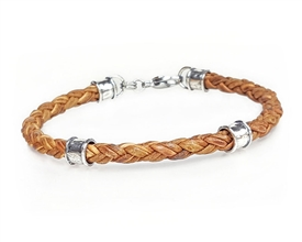 Braided Leather with 5mm Silver Beads - Natural tan