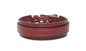 "1"" Wide BURGUNDY RED Leather Buckle Cuff Bracelet with SILVER Buckle"