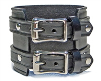 "2 1/4"" BLACK Leather Wristband with Silver Buckles"