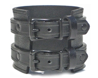 Marquee Double Buckle Cuff - Black leather