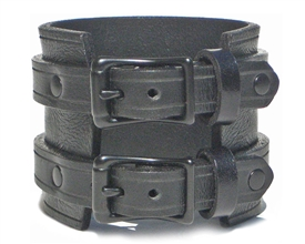 "2 1/4"" BLACK Leather Wristband with BLACK Buckles"